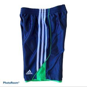 Adidas Boys Shorts navy green white 3 stripes Sz 6